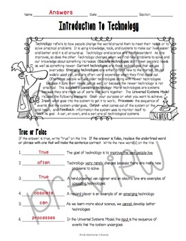 Introduction to Technology Worksheet