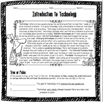introduction to technology worksheet by adventures in science tpt. Black Bedroom Furniture Sets. Home Design Ideas