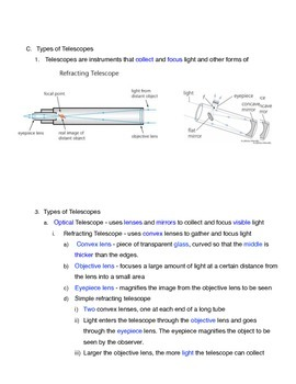 Introduction to Telescopes Outline Notes