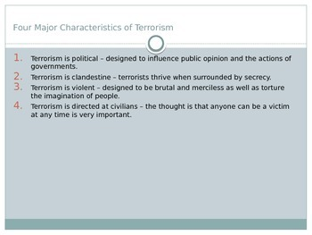 Introduction to Terrorism Discussion Questions