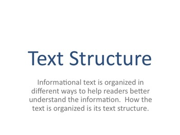 Introduction to Text Structure (Organizing Informational Text)