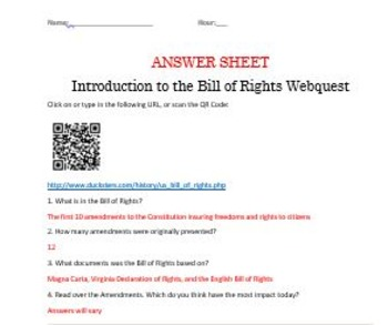 Introduction to The Bill of Rights Webquest