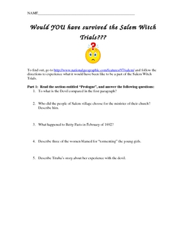 introduction to the crucible salem witch trials internet activity. Black Bedroom Furniture Sets. Home Design Ideas