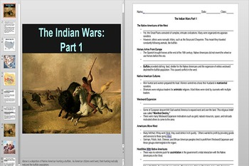 Introduction to The Indian Wars Powerpoint AND Notes Worksheet