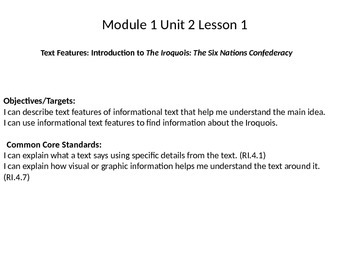 Introduction to The Iroquois: NY Engage Module 1 Unit 2 Lesson 1