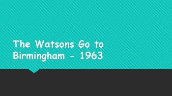 Introduction to The Watsons Go To Birmingham - 1963