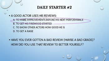 Introduction to Theatre Daily Starters