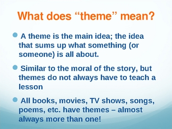 Introduction to Theme for Middle School/Early High School