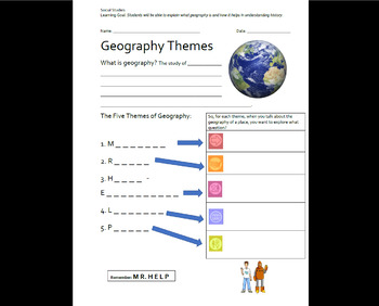 Five Themes of Geography BrainPop Worksheet