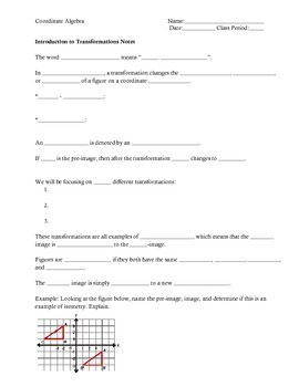 Introduction to Transformations on the Coordinate Plane Notes