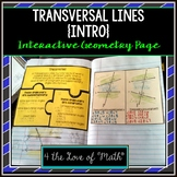 Introduction to Transversal Lines Interactive Notebook Page