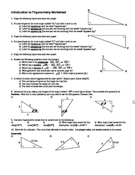 Introduction to Trigonometry worksheet - with Answer Key (Editable)