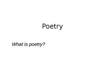 Introduction to Understanding and Analyzing Poetry