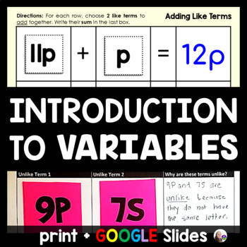 Introduction to Variables Lesson and Notes