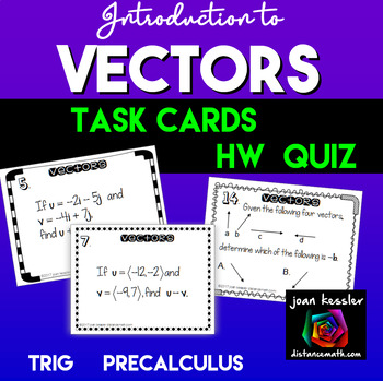 Introduction to Vectors Task Cards plus HW