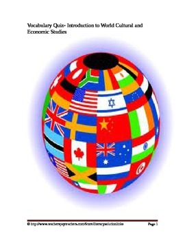Introduction to World Cultural and Economic Studies Vocabulary Quiz