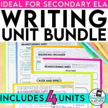 Writing Bundle for Secondary ELA: Narrative, Argument, Research, Expository