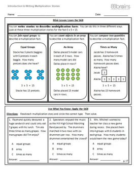 Introduction to Writing Multiplication Stories pgs. 17-19 (CCSS)