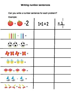 Introduction to Writing Number Sentences