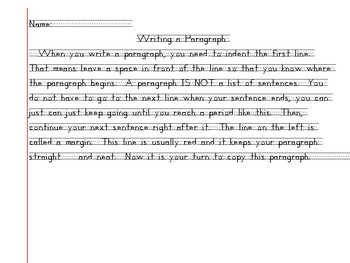 Introduction to Writing a Paragraph