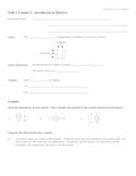 Introduction to creating and understanding matrices Notes Outline
