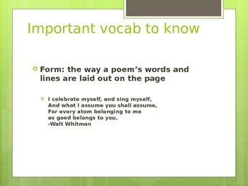 Introduction to elements of Poetry
