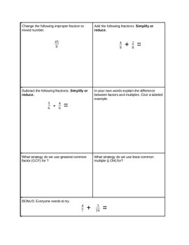 Introduction to fractions assessment