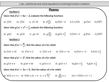 Introduction to function notation - Complete lesson with mastery worksheet