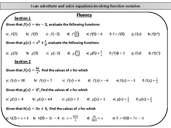 Introduction to function notation- mastery worksheet by Joy's Math ...
