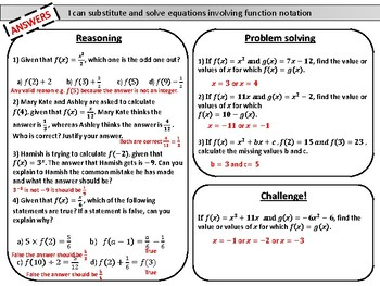 Introduction to function notation- mastery worksheet