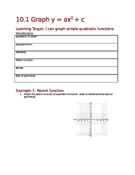 Introduction to graphing parabolas (10.1)