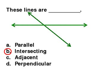 Introduction to parallel, intersecting, and perpendicular lines.
