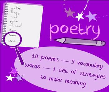 Introduction to poetry packet - vocabulary list & poetry collection