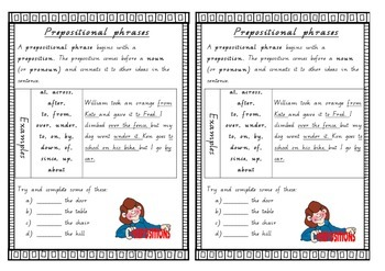 Introduction to prepositional phrases