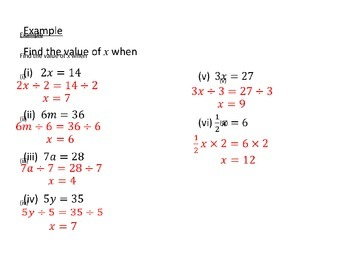 Introduction to solving simple equations
