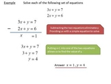 Introduction to solving simultaneous equations