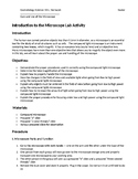 Introduction to the Compound Light Microscope Lab with Answer Key