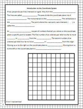 Introduction to the Coordinate System Freebie