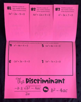 Introduction to the Discriminant (Foldable) for Algebra 1