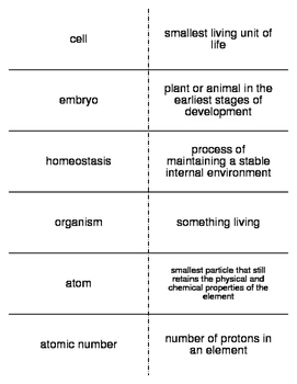 Introduction to the Living Organism Vocab. Flash Cards for Middle School Science