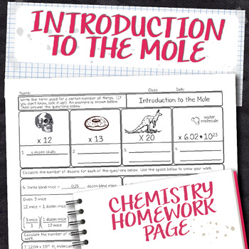 Introduction To The Mole Chemistry Homework Worksheet By Science