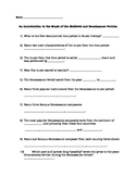 Introduction to the Music of the Medieval and Renaissance Periods Worksheet