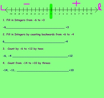 Introduction to the Number Line Assignment Smartboard