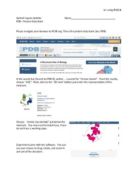 Introduction to the PDB Via Basic Analysis - A Guided Inquiry