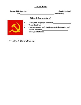 Introduction to the Russian Revolution Guided Notes