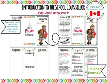 Introduction to the School Counsellor Editable Brochure-Canadian Version