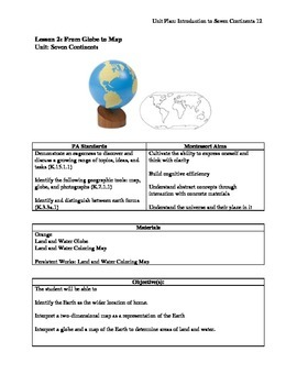 Introduction to the Seven Continents Unit Plan- Primary or