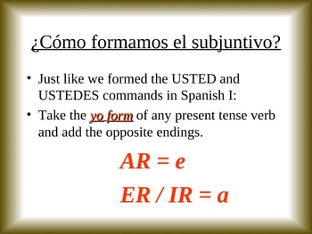 Introduction to the Subjunctive Power Point