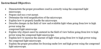 Introduction to the Use of the Microscope Lab