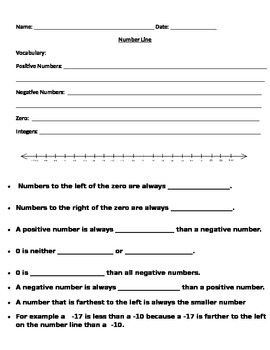 Introduction to the number line with positive and negative integers notes